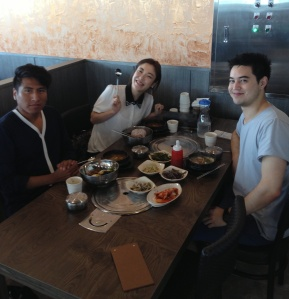 Asuka (Japan), Nicholas (Australia) and Vicente (Norway) at lunch at Myeongga
